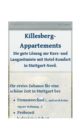 "mobile Website der ""Killesberg Appartements"""