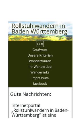 "mobile Website der Initiative ""Rollstuhlwandern in Baden-Württemberg"""