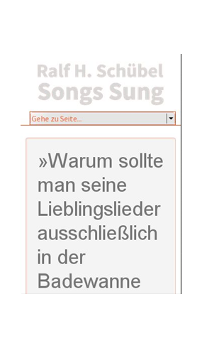"mobile Website des Musikprojekts ""Songs Sung"""