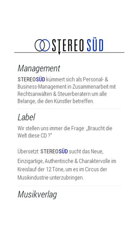 "mobile Website der Agentur ""Stereo Süd"""